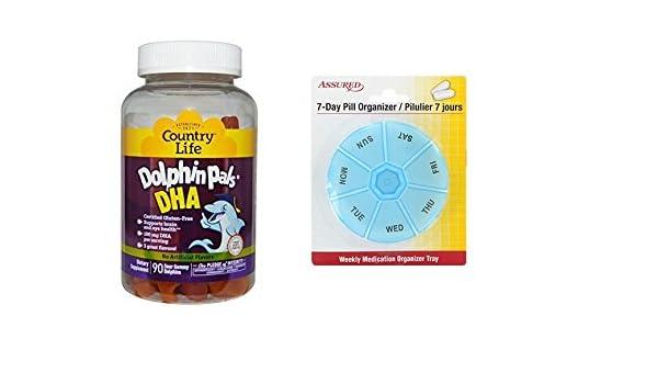 Amazon.com: Gomitas DHA de Pals país vida delfín para niños, variedad 90 con gratis 7 días plástico píldora organizadores: Health & Personal Care