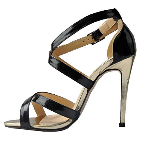 HooH Women's Snakeskin Hollow Out Peep Toe Stiletto Sandals Dress Pump Black IGEKRDf02