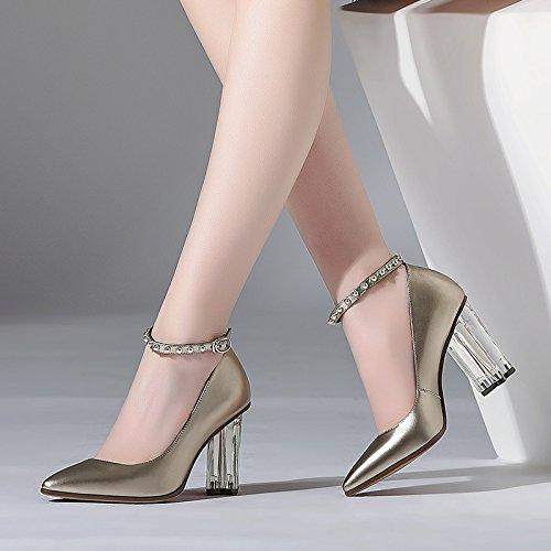SSBY Frauen Und Schuhe Neue Kristall Stile Heels 8.5Cm Heels Nieten Metall Schnallen Kristall Neue - Heels Einzelne Schuhe Thirty-four 20be58