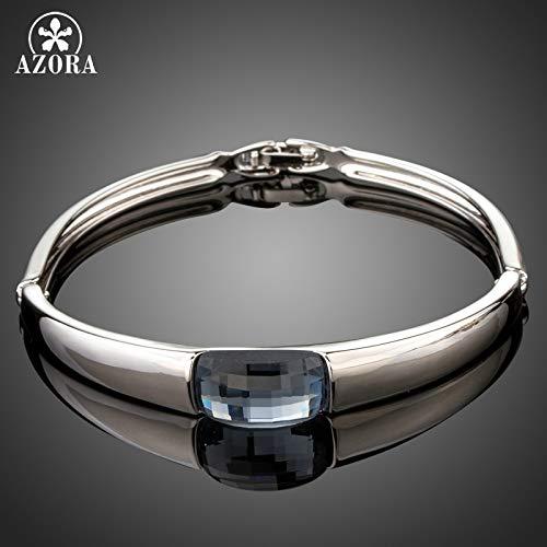 Australian Style Rectangle Ocean Blue Crystal Fold Over White Gold Bracelets