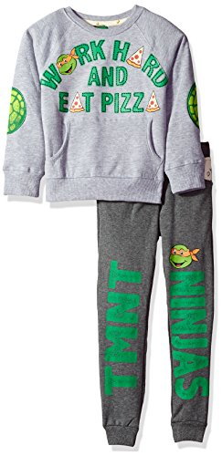 Ninja Turtles Pizza (Nickelodeon Toddler Boys TMNT Work Hard and Eat Pizza Jogger Set, Grey, 4T)