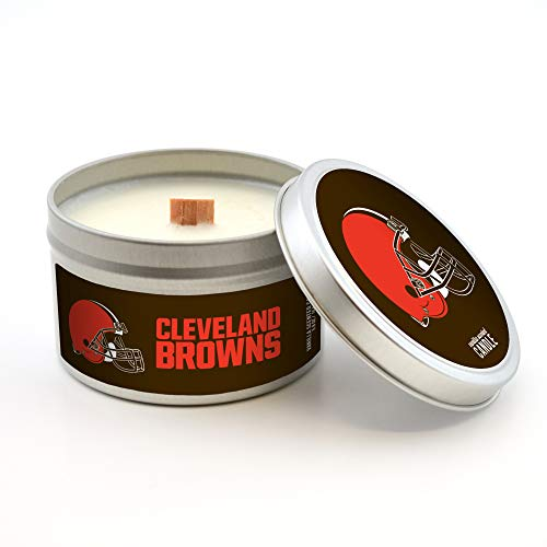 Worthy Promotional NFL Cleveland Browns Vanilla Scented Wood Wick Candle in Travel Tin with Lid, 5.8-Ounce