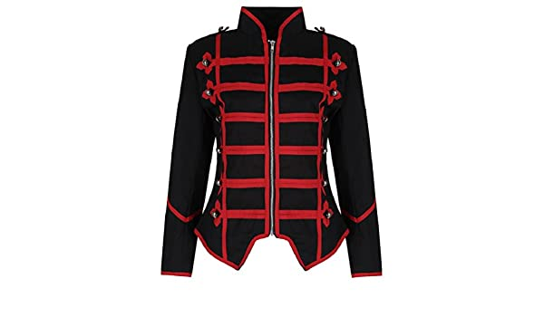 Amazon.com: Ro Rox Womens Black Red Military Parade Emo Punk Drummer Jacket: Clothing