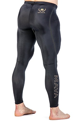 (Mava Men's Compression Long Leggings - Base Layer Tights for Workouts, Running, Cycling, Sports, Training, Weightlifting - All Weather Long Capri (Black & Gold, X-Large))
