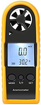 Anemometer Digital LCD Wind Speed Meter Gauge Air Flow Velocity Measurement Thermometer with Backlight for RC Drones Helicopter Windsurfing Kite Flying Sailing Surfing Fishing Etc