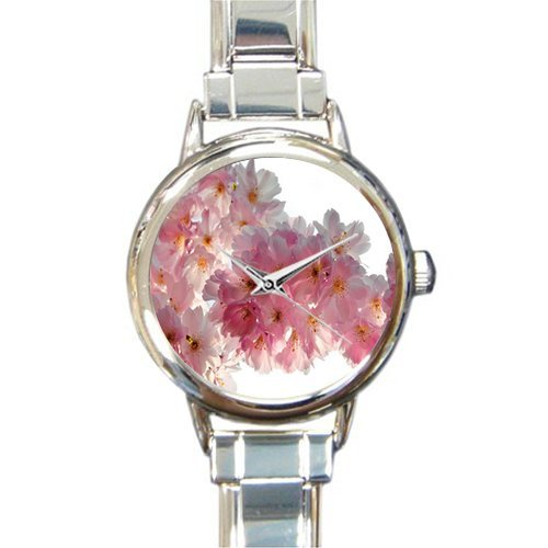 Gifts for Mother Pink Cherry Blossom Italian Charm Women's Watch (Charm Cherries Italian)