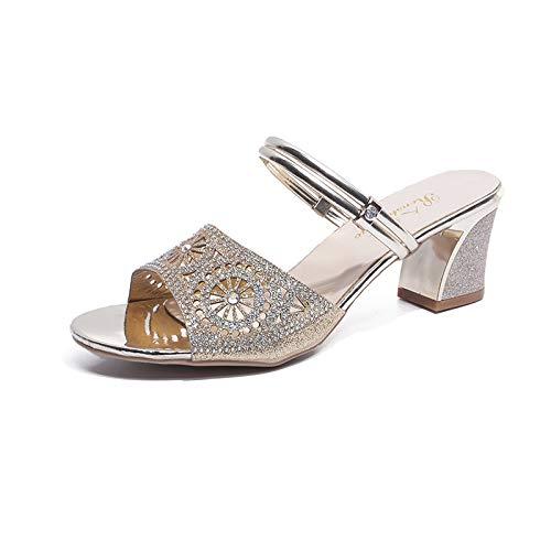 ZHRUI strass EU Peep Elegante Argento Toe  scarpe Sandalo fuori  Toe  a140c9