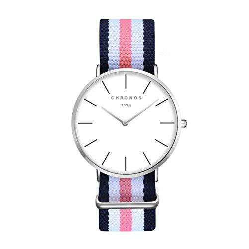 (Fashion Simple Men Women Watch - Colored Nylon Textile Strap Ultra-Thin Linear Scale Wrist Watch for Gentlemen Ladies, Blue White Pink)