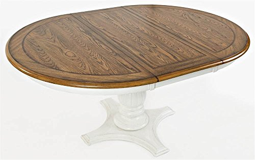 Jofran 1776-66TBKT Castle Hill Round to Oval Dining Table Antique White and Oak 48
