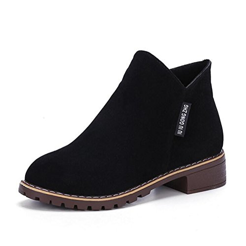 Women's Suede Leather Chukka Ankle Boots Girls Comfy Platform Booties Flat School Shoes Zipper Round Toe