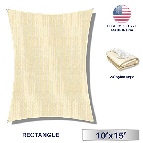 10' x 15' Sun Shade Sail UV Block Fabric Canopy in Beige Sand Rectangle for Patio Garden Customized 3 Year Limited Warranty (Ft 10 Outdoor Shades)