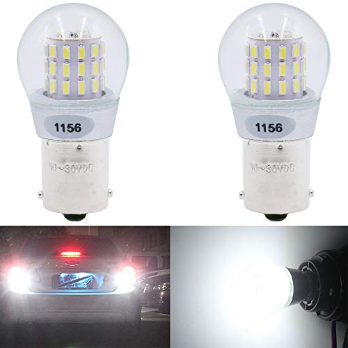AMAZENAR 2-Pack 1156 BA15S 1141 1003 7506 1073 Extremely Bright White LED Light 9-30V-DC, AK-3014 39 SMD Replacement Bulbs for Interior RV Camper Brake Tail Back Up Reverse Bulbs Day Running Light