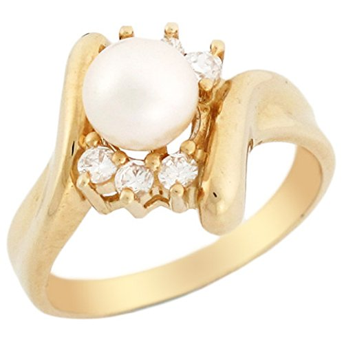 14k Solid Yellow Gold Freshwater Cultured Pearl & CZ High Polish Bypass Ring Jewelry High Polish Bypass Ring