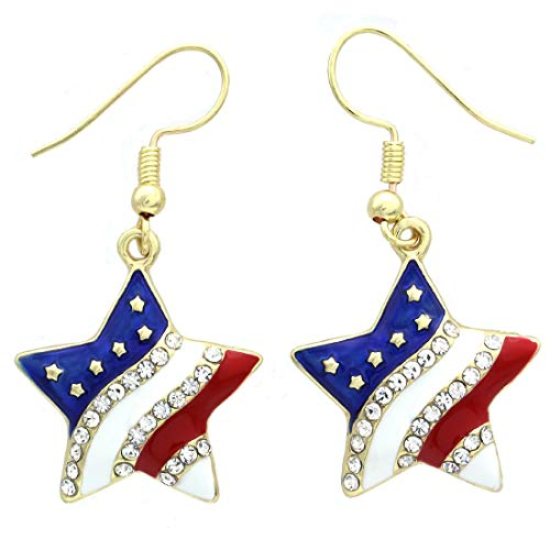 (Patriotic Red White Blue American USA Flag Star Dangle Drop Earrings 4th of July Independence Day Gift (Gld Star)
