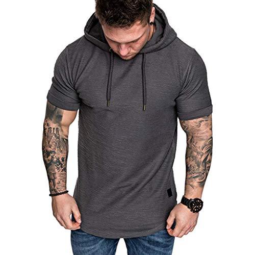 Men's Slim Fit Casual T-Shirt Popular Fashion Short Sleeve Hoodie Top Heavyweight Athletic Drawstring T-Shirt Dark Gray