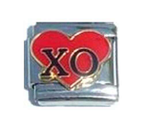 LOVE HUG KISS RED HEART Enamel Italian Charm 9mm - 1 x LV110 Single Bracelet Link - Heart Kiss Italian Charm
