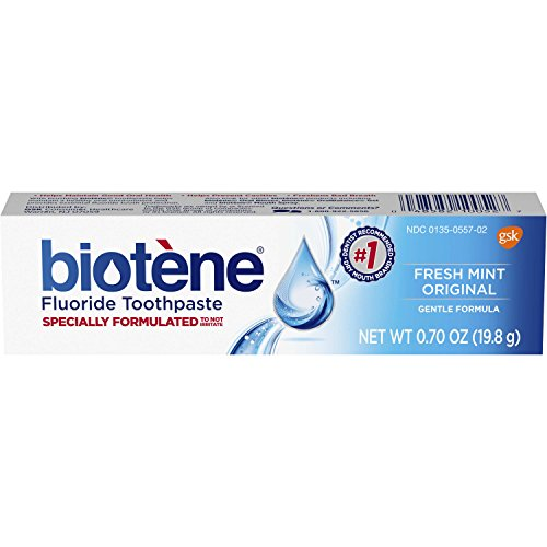 - Biotene Fresh Mint Original Fluoride Toothpaste, 0.7 ounce Trial Size