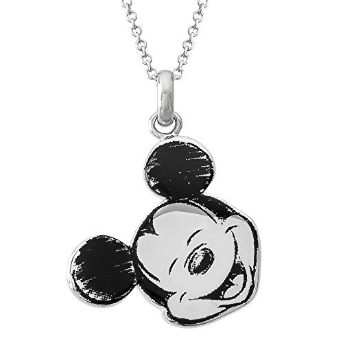 Mickey Mouse Pendant - Disney ClassicMickey MouseSilver Plated Pendant Necklace, Mickey's 90th Birthday Anniversary;Jewelry for Women and Girls