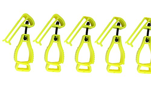 5Pcs Pack AT02-5Y Yellow Sino-Max Glove Grabber Clip Holder Guard Work  Safety Clip Glove Keeper, Neon POM,Reduce Hand Injury and Clip, Grab,  Attach