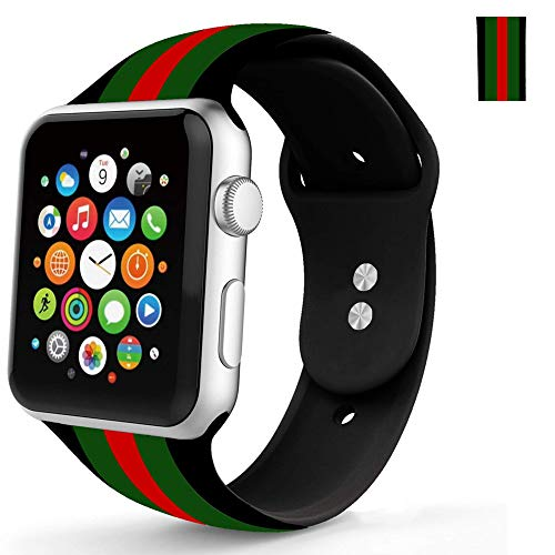 - WHLIHUSU Sport Band, Compatible for Apple Watch 38mm 40mm, Soft Silicone Stripe Strap Replacement iWatch Bands Compatible for Apple Watch Wristbands Series 4 3 2 1 Nike+ (M/L,Black Green Red)