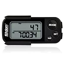 Pedometer by Fitdom for Walking, Running, Count Steps, Track Calories Burned, Miles Traveled and Distance with Precision, 30 Days Performance Memory, Large Simple Display with Extra Long Battery Life