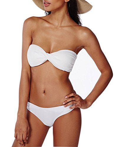 HelloTem Twist Bandeau Bikini Set Two Pieces Swimwear Swimsuit for Women