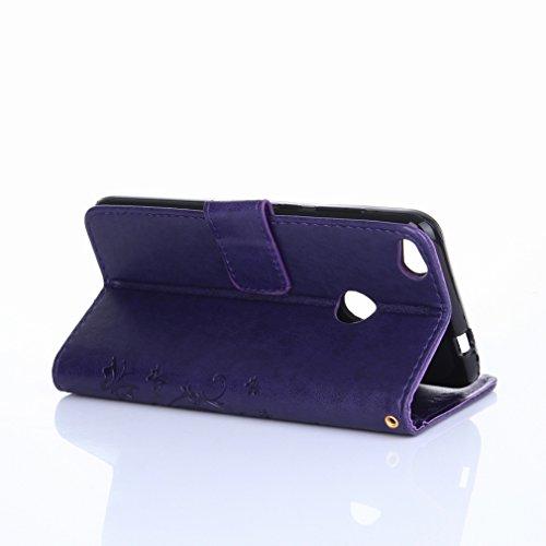 Yiizy Huawei P8 Lite (2017) / Honor 8 Lite Funda, Hierba FlorDesign Premium PU Leather Slim Flip Wallet Cover Bumper Protective Shell Pouch with Media Kickstand Card Slots (Púrpura)
