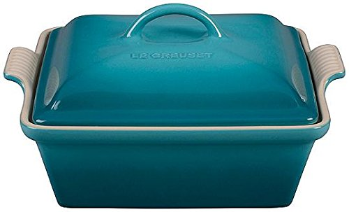 Stoneware 2.5-qt. Square Casserole Color: Caribbean (Blue Cookware Le Creuset)