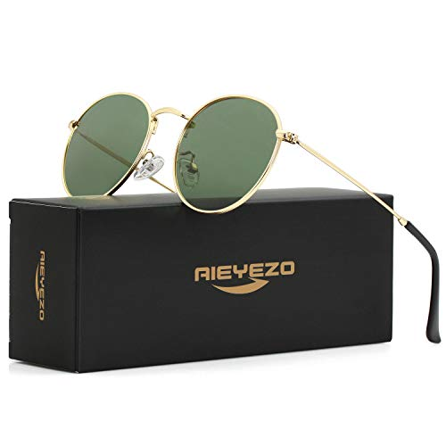 Round Large Sunglasses (Polarized Sunglasses for Men Women Vintage Round Metal Sun Glasses 100% UV400 Protection (Gold/G-15))