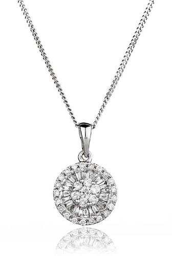 0.40CT Certified G/VS2 Baguette and Round Brilliant Cut Diamond Pendant in 18K White Gold