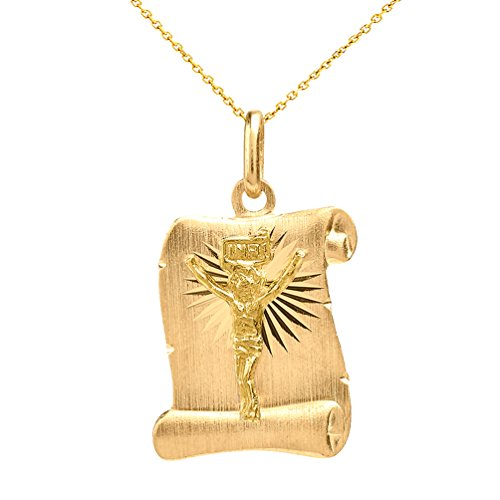 - Solid 14k Yellow Gold Jesus Christ Scroll Pendant Necklace, 18