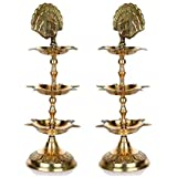Hashcart Handmade Indian Engraved 3 in 1 Adjustable Brass Panch Mahal Diya Lamp (6.35 cm x 6.35 cm x 21.59 cm, Gold, Set of 2)