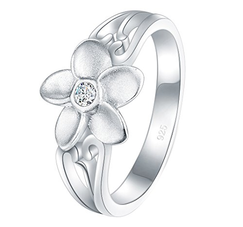 BORUO 925 Sterling Silver Ring, Plumeria Cubic Zirconia CZ Hawaiian Flower High Polish Tarnish Resistant Comfort Fit Wedding Band Ring Size 5