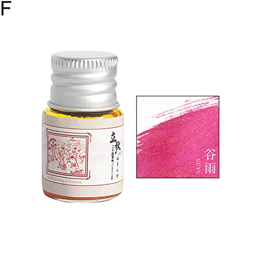 Baost 5ML Colored Calligraphy Ink Writing Painting Drawing Ink Fountain Pen Ink with Glitter Powder Glitter Art Paint Brush Pigment for Graffiti, Oil Painting, Calligraphy F by BaoST (Image #1)