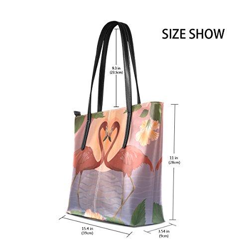 ca71bb21dda20 COOSUN Romantic Red Flamingos und der Mond PU Leder Schultertasche  Handtasche und Handtaschen Tasche für Frauen ...