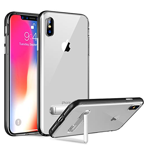 Hocase iPhone Xs Max Case, Slim Fit Scratch-Resistant Soft TPU Rubber+PC Bumper Protective Clear Case with Built-in Kickstand for iPhone Xs Max 2018 w/ 6.5-inch Display - Crystal/Black