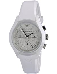 Mens AR1431 White Ceramic Silicone Chrono Watch · Emporio Armani