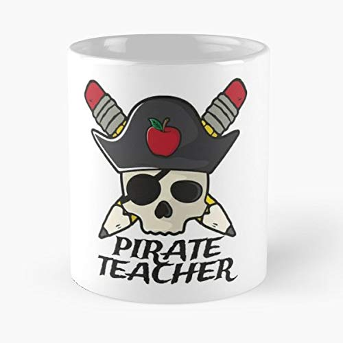 School Halloween Skull Math Teacher Pirate Costume - Gift Coffee Mug 11 Oz Funny ()