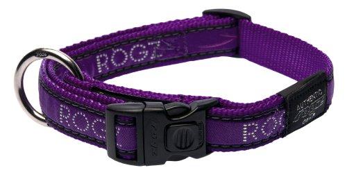 Rogz Fancy Dress Large 3/4-Inch Beachbum Dog Collar, Purple Chrome Design, My Pet Supplies