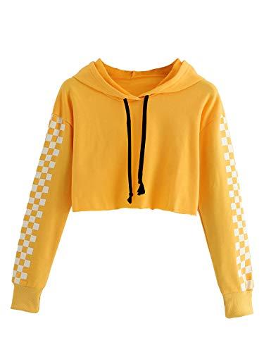 HUILAN Women's Long Sleeve Plaid Checkered Sweatshirt Crop Top Hoodies 2-Yellow M ()