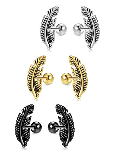 Jstyle 3 Pairs Stainless Steel Leaf Stud Earrings for Women Mens Helix Cartilage Piercing Earring Set 16G