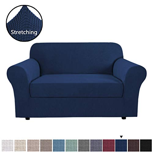 H.VERSAILTEX 2 Piece Loveseat Slipcovers Stretch Furnitue Cover Fit Lovesat Width Up to 68 Inch, Lycra Spandex Jacquard Fabric Super Soft Skid Resistant Sofa Protector - Loveseat - Navy