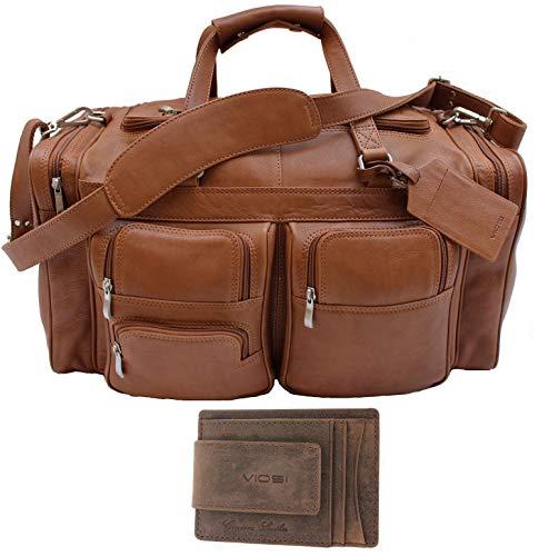 Viosi Malibu 22 Inch Genuine Leather Duffel Travel Bag Sports Gym Bag Weekender Overnight Luggage [Cognac]