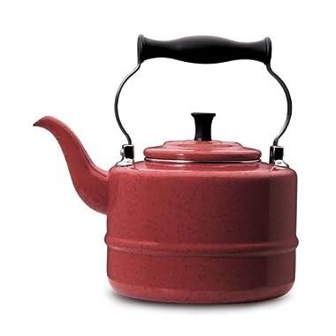 Paula Deen 2-Quart Enamel on Steel Teakettle, Red