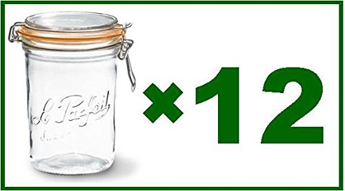 Full Case of 12 - Le Parfait French Wide Mouth Glass Canning Jars - 35 Oz Each by Le Parfait