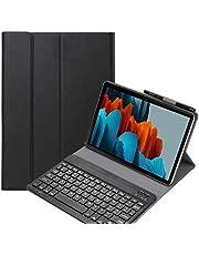 حافظة لوحة مفاتيح Fegishilly لجهاز Galaxy Tab S7 FE، غطاء نحيف مغناطيسي قابل للفصل لوحة المفاتيح اللاسلكية مع حامل قلم S مع ملصقات لوحة المفاتيح العربية (أسود)