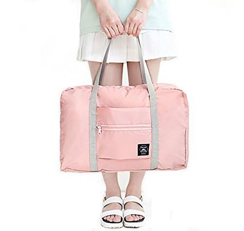 H&N Fashion Trip Organized Zipper Waterproof Tote Handbag Travel Bag with High Capacity Foldable Storage Duffle Bag Pink