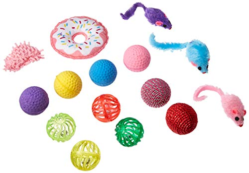 Pet Craft Supply Cat Toy Set - Multi Color cat accessories with Fun Donut Toys - cat supplies - kitty toys - cat plush toy pack - cat wand catnip mice value pack set of 15 toys from Pet Craft Supply