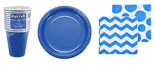 Matching Birthday Paper Plates, Napkins and Cups (Blue Dessert Plate Set) -