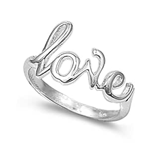 Sterling Silver Love Ring (Size 4 – 10) - Size 4